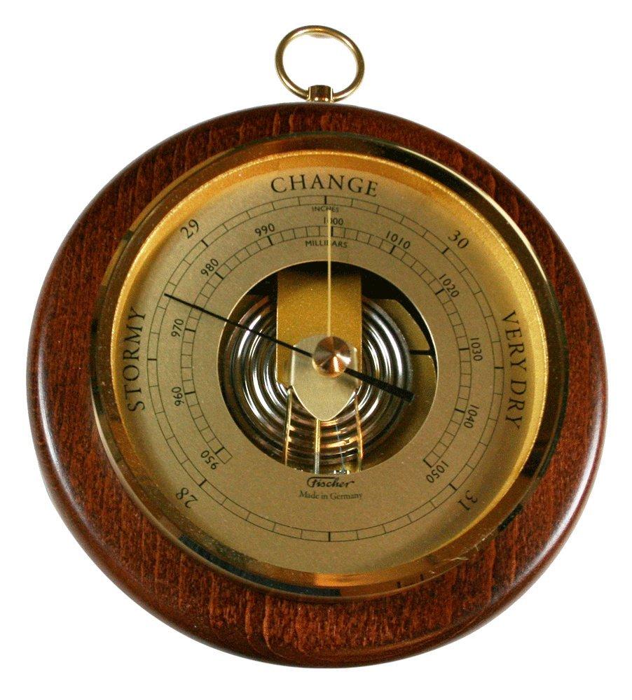 Fischer 1436R-12 Open Face Wood and Brass Barometer, 6 1/2''