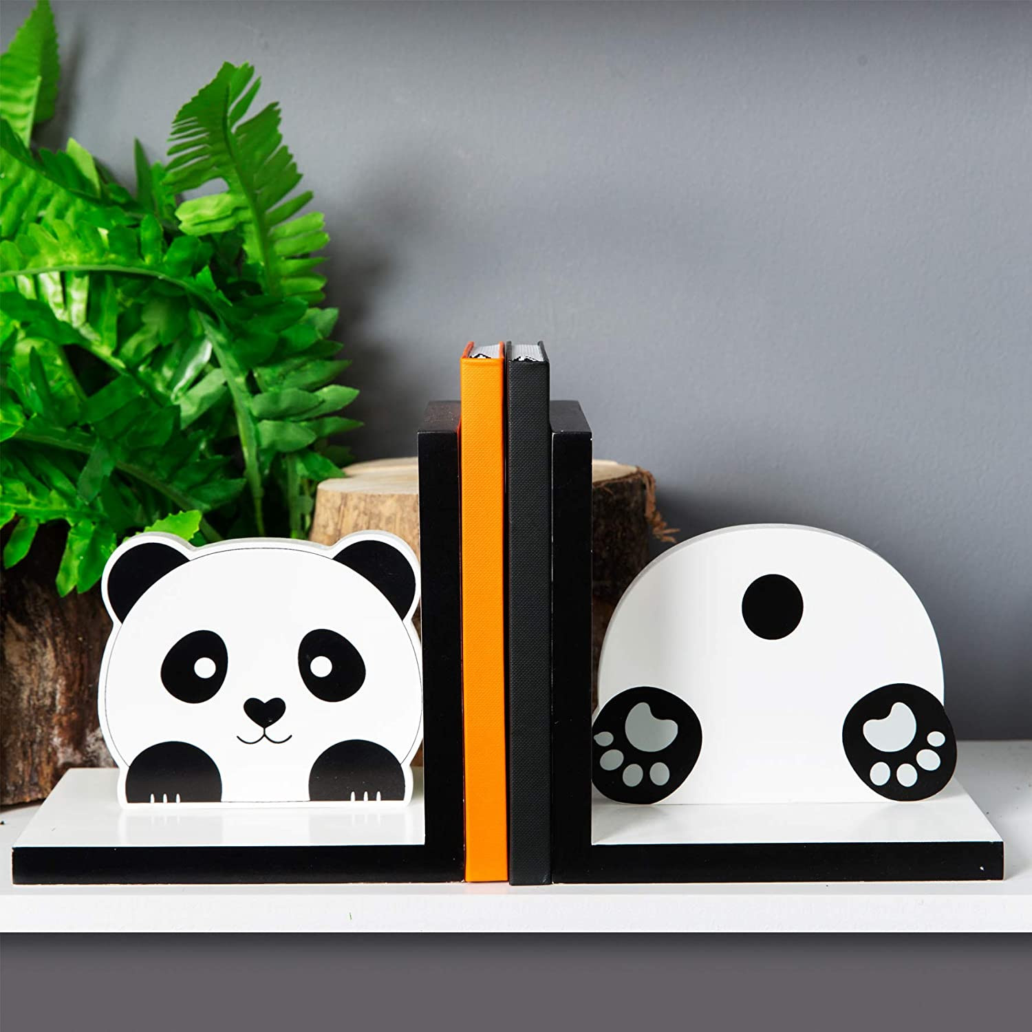 Widdop & Co Pair of Wooden Panda Bookends - Fun Cute Zoo Jungle Animals Support For Book