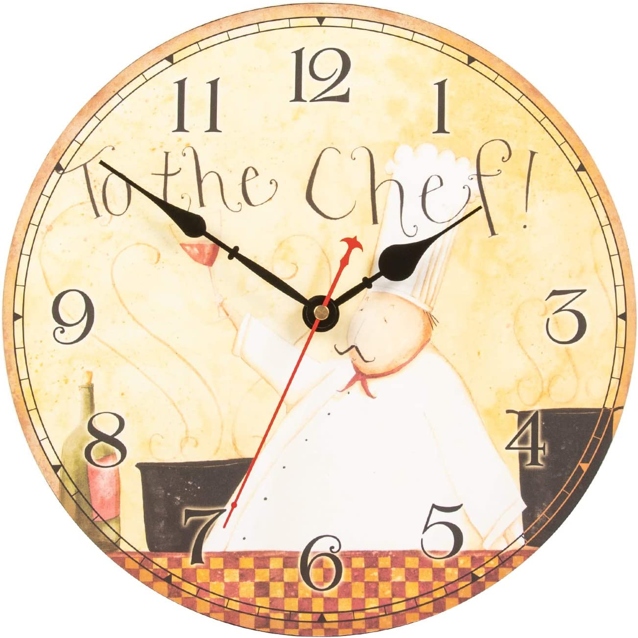 KI Store Chef Wall Clock for Kitchen Dinning Restaurant Café Decorative Wall Clock 12-inch Battery Operated (to The Chef)