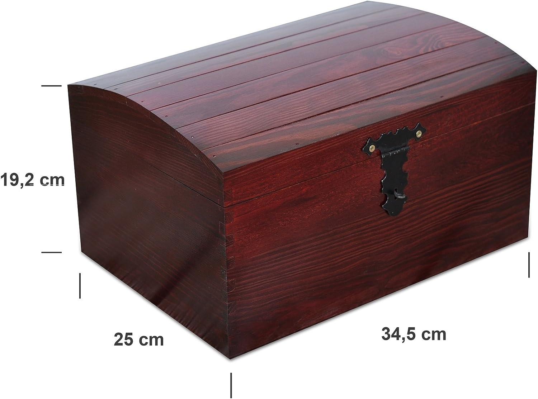 Creative Deco Rojo Grande Cofre Caja Madera | 34,5 x 25 x 19,2 cm ...