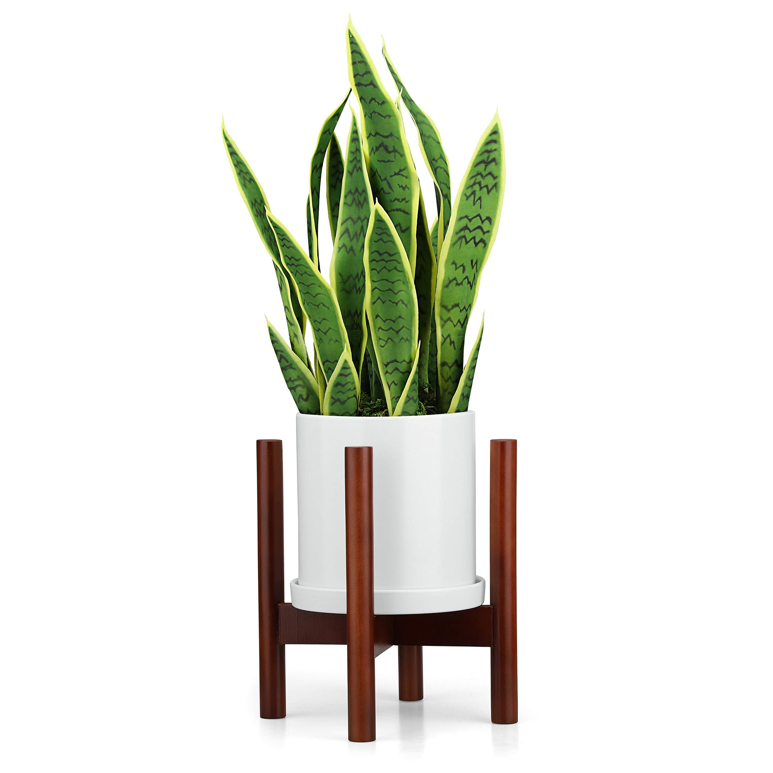 Mid Century Modern Plant Stand with Square Legs Planter Stand Walnut Wood Retro Home Decor (8 inch)