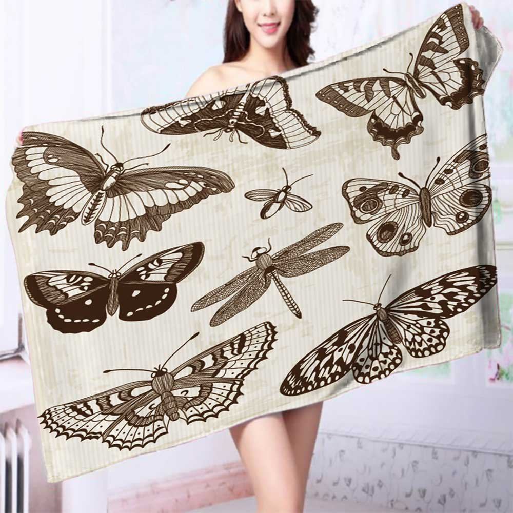 Quick-Dry Bath Towel Vector Set Calligraphic Butterfly Design Elements and Page Decoration Ideal for everyday use L55.1 x W27.5 INCH