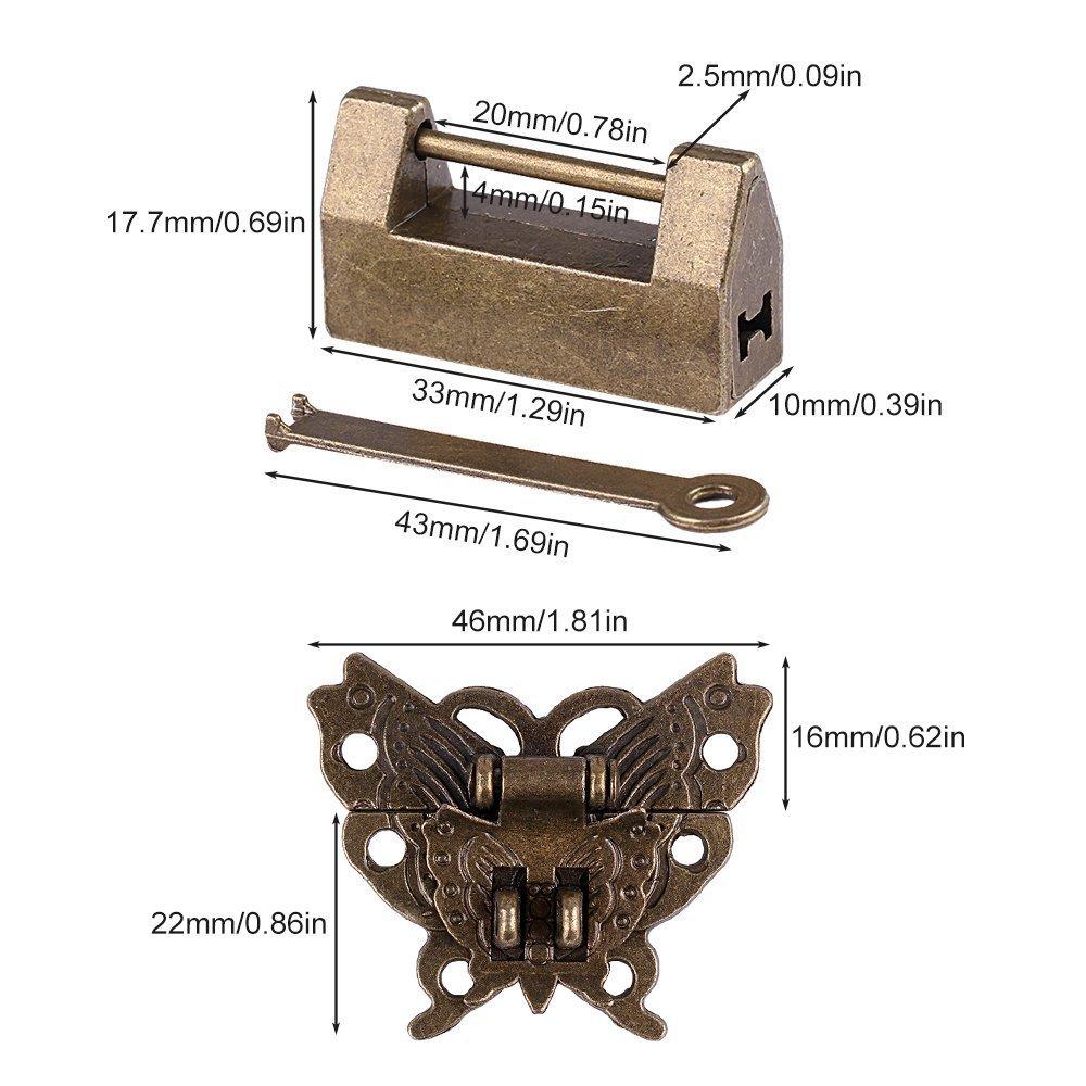 coffret cadeau Pour armoire coffret /à bijoux Avec cl/é Petit verrou vintage chinois moraillon en forme de papillon et vis