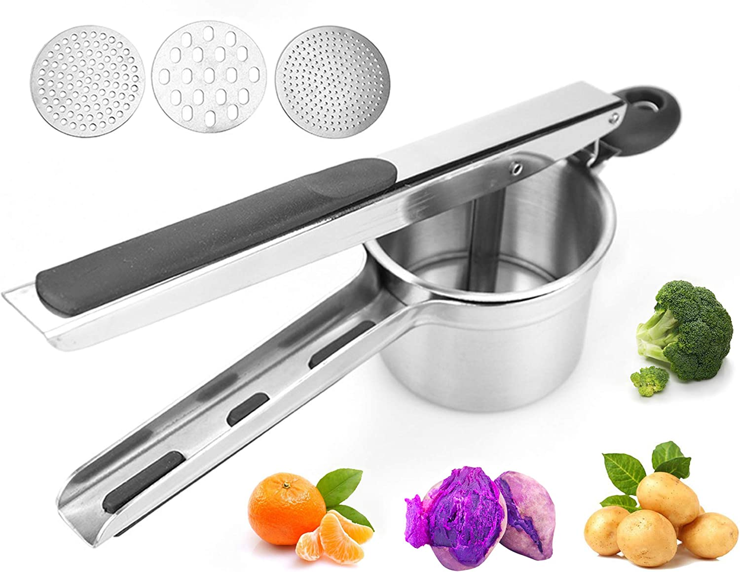 Ricer For Mashed Potatoes,Baby Food Masher,Stainless Steel Manual Potato Masher,Large Capacity,With 3 Replaceable Discs, Making Smooth Potato Mash Fruit Puree Vegetable Puree And Baby Food