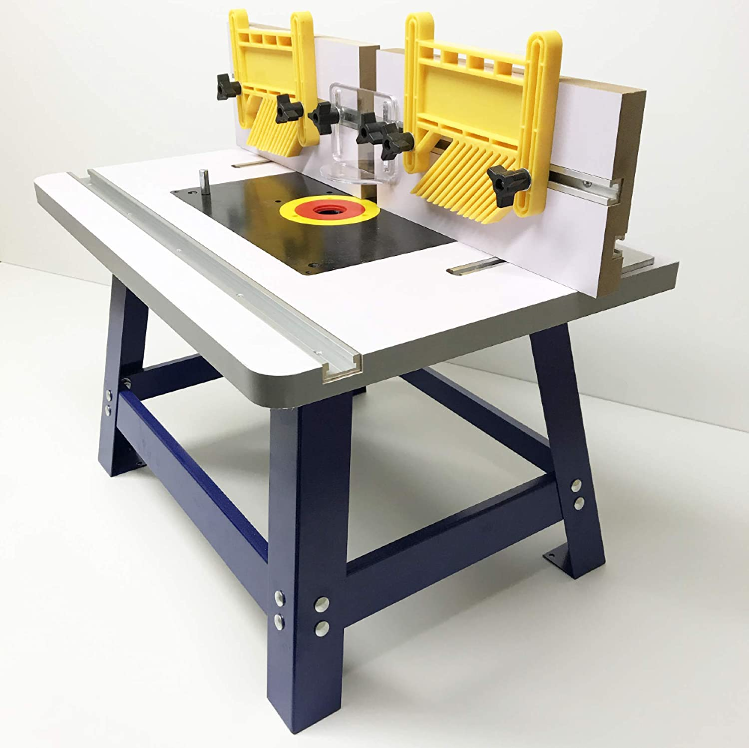 Deluxe 1//4 and 1//2 Bench Top Router Table with 2X Feather Boards