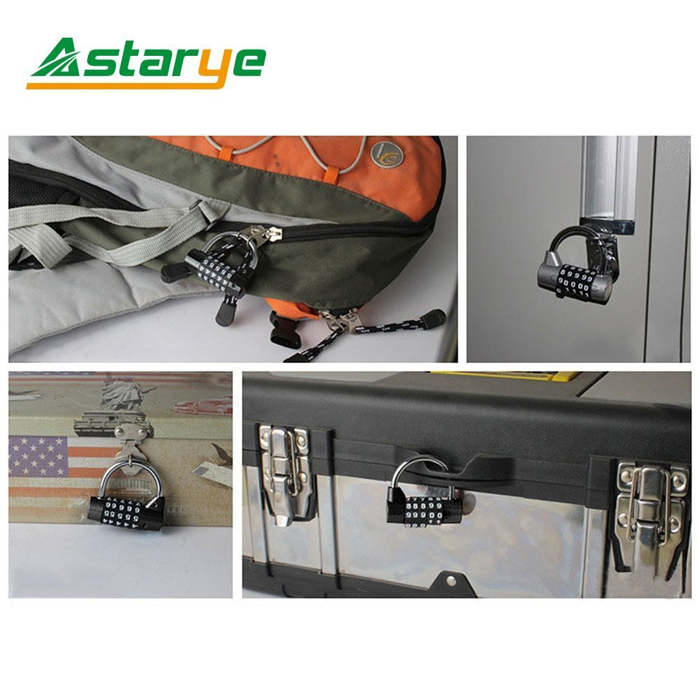Palestra e Armadietto Sportivo Valigia Toolbox Outdoor Travel Luggage Combinazione Padlock Astarye 2 Pack con Quadrante Liscio a 5 Cifre Resettable Anti Rust Padlock Set per Scuola