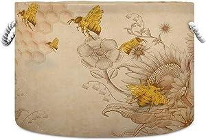 Retro Honey Bees Sunflowers Large Round Storage Basket, 20