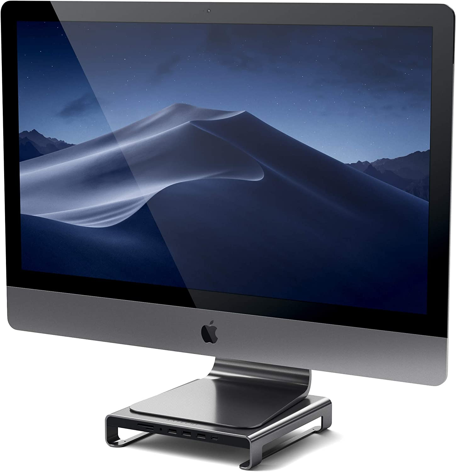 Satechi Type-C Aluminum Monitor Stand Hub with USB-C Data, USB 3.0, Micro/SD Card Slots & 3.5mm Headphone Jack - Compatible with iMac Pro, 2019/2017/2016 iMac (Space Gray)