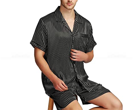 Image Unavailable. Image not available for. Color  Mens Silk Satin Short Pajamas  Pajama Pyjamas Set Sleepwear Set Loungewear S~4XL Plus 687d3ef5c