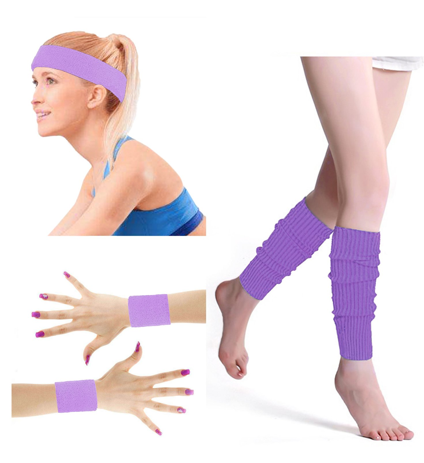80's Retro Running Jogging Sports Headband Wristbands Leg Warmers Elbow Guard Set For Women Girls, Light Purple