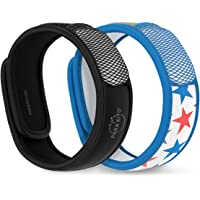 Para'Kito Mosquito Repellent Bonus Pack - 2 Wristbands | 2 Refills (Black + Stars)