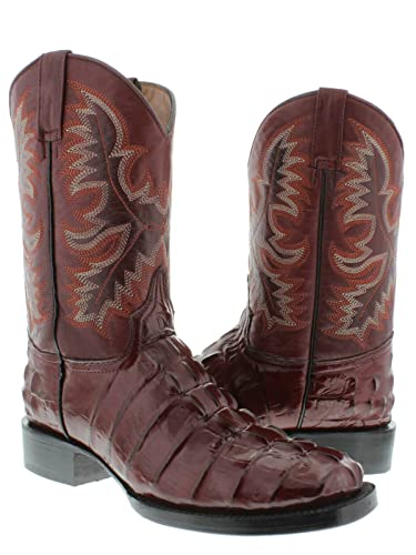Men's Dark Red Crocodile Alligator Tail Cut Western Cowboy Boots Square Toe