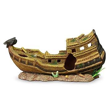 LDFN Barco Pirata Decoración Del Acuario Resina De Simulación Pecera Rocalla Escapar De La Casa Decoraciones Del Acuario Artificiales,34.5*11*17cm: ...