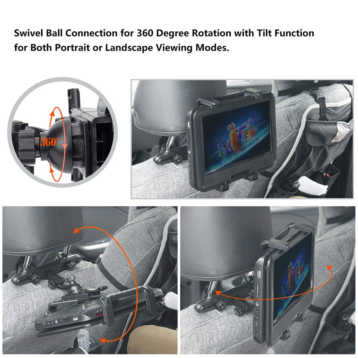 BEDEE Car Headrest Mount Holder for Tablet DVD Player Universal Holder Cradle Bracket with 360° Adjustable Rotatable for iPad Mini Samsung Galaxy Kindle Fire 7inch to 12\