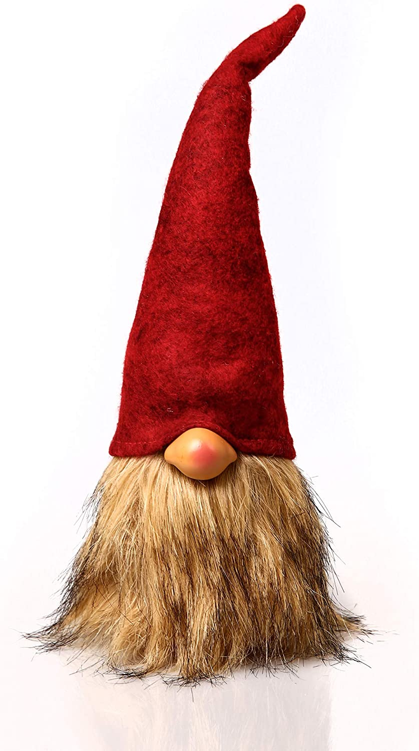ITOMTE Handmade Swedish Gnome, Scandinavian Tomte, Yule Santa Nisse, Nordic Figurine, Plush Elf Toy, Home Decor, Winter Table Ornament, Christmas Decorations, Holiday Presents - 12 Inches, Red