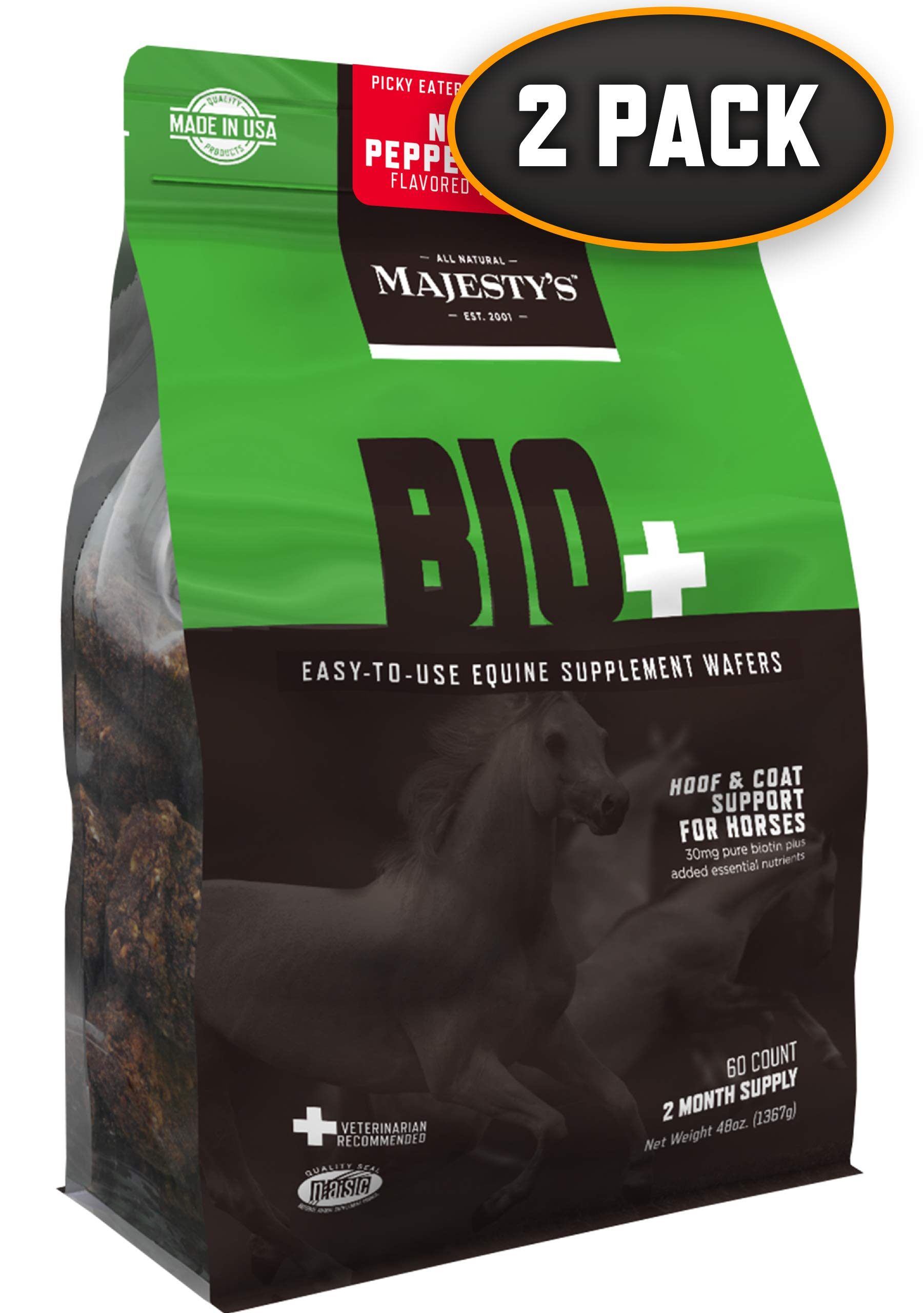 Majesty's Bio+ Peppermint Wafers - Horse/Equine Hoof & Coat Support Supplement - Pure Biotin, Lysine, Methionine, Zinc - Healthier Coats/Hair/Skin & Stronger Hooves - 4 Month Supply (2 Bags/120 Count) by Majesty's