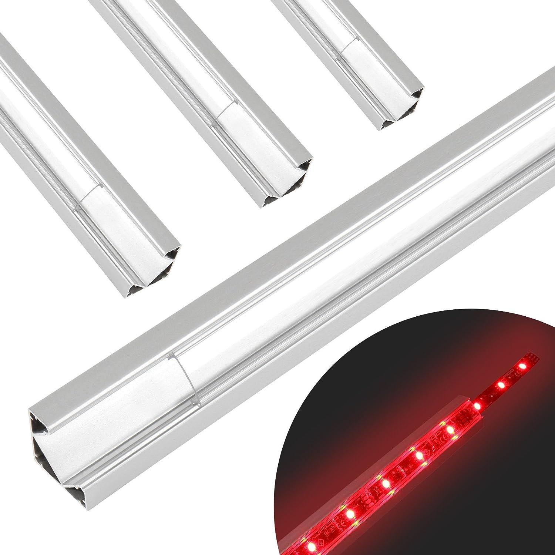 Jago LED Strip Lighting profilo in alluminio anodizzato lunghezza regolabile (2m) trasparente o di latte, clip di montaggio e tappi (different Size/Colour/set), Transparent, Set of 1, 18.5/18.5 mm