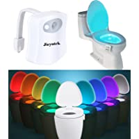 Toilet LED Night Light, Jieyutek TL01 Human Bodies Induced Sensor Auto Motion Activated, 8 Colors Changing Night Light Toilet Bowl Light