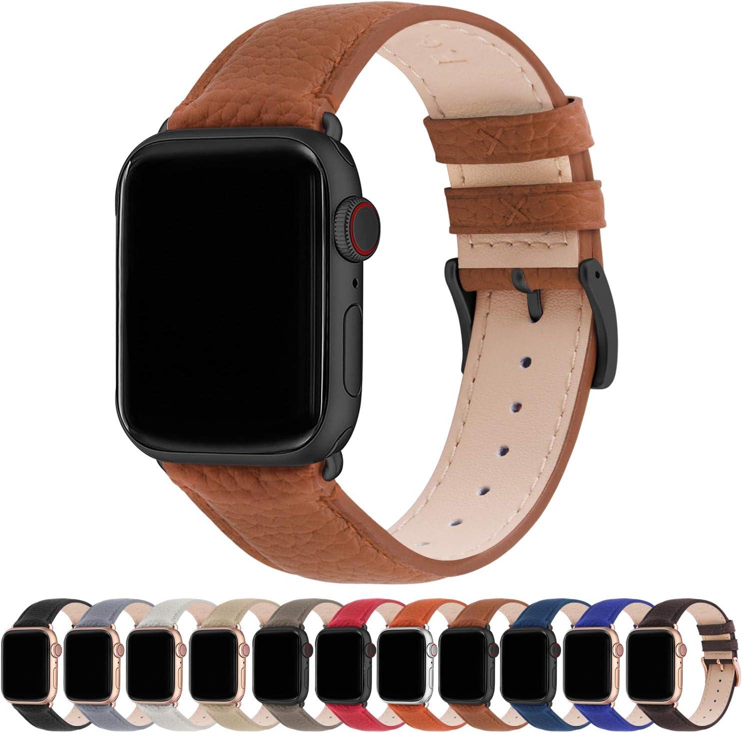 Fullmosa Compatible Apple Watch Band 44mm 42mm 40mm 38mm Leather Compatible iWatch Band/Strap Compatible Apple Watch SE & Series 6 5 4 3 2 1, 42mm 44mm, Brown + Gunmetal Buckle