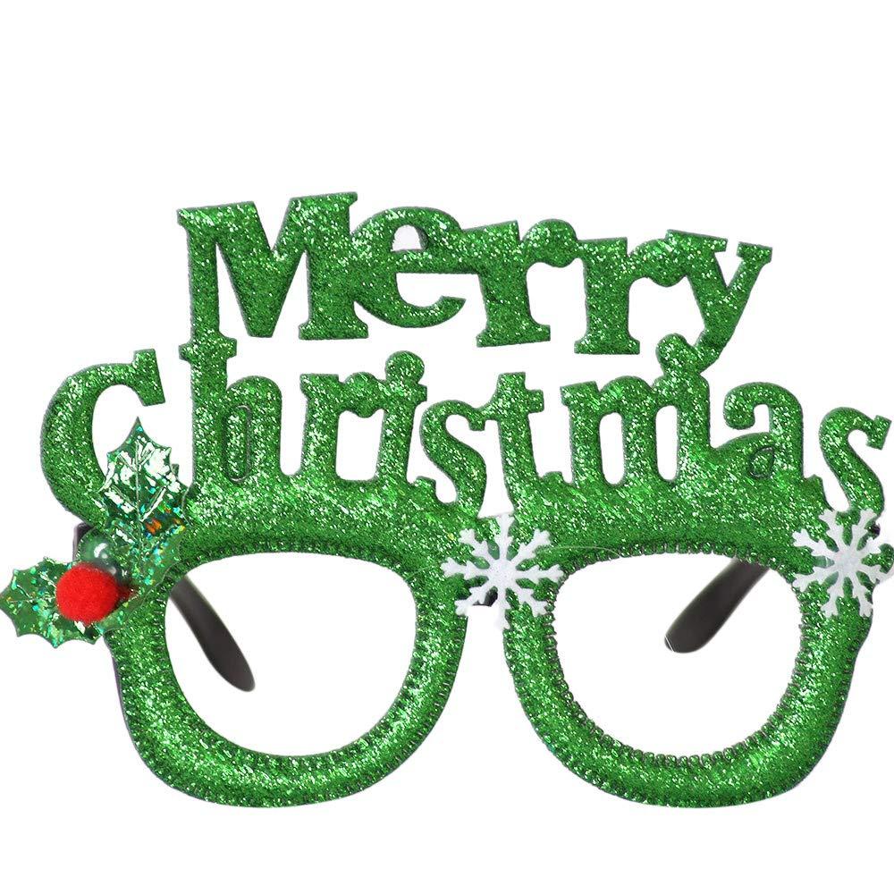 VINFUTUR 6 Paia Occhiali di Natale Occhiali Natalizi 6 Pezzi Cappelli di Natale Cappello Babbo Natale per Festa Decorazione per Bambini e Adulti