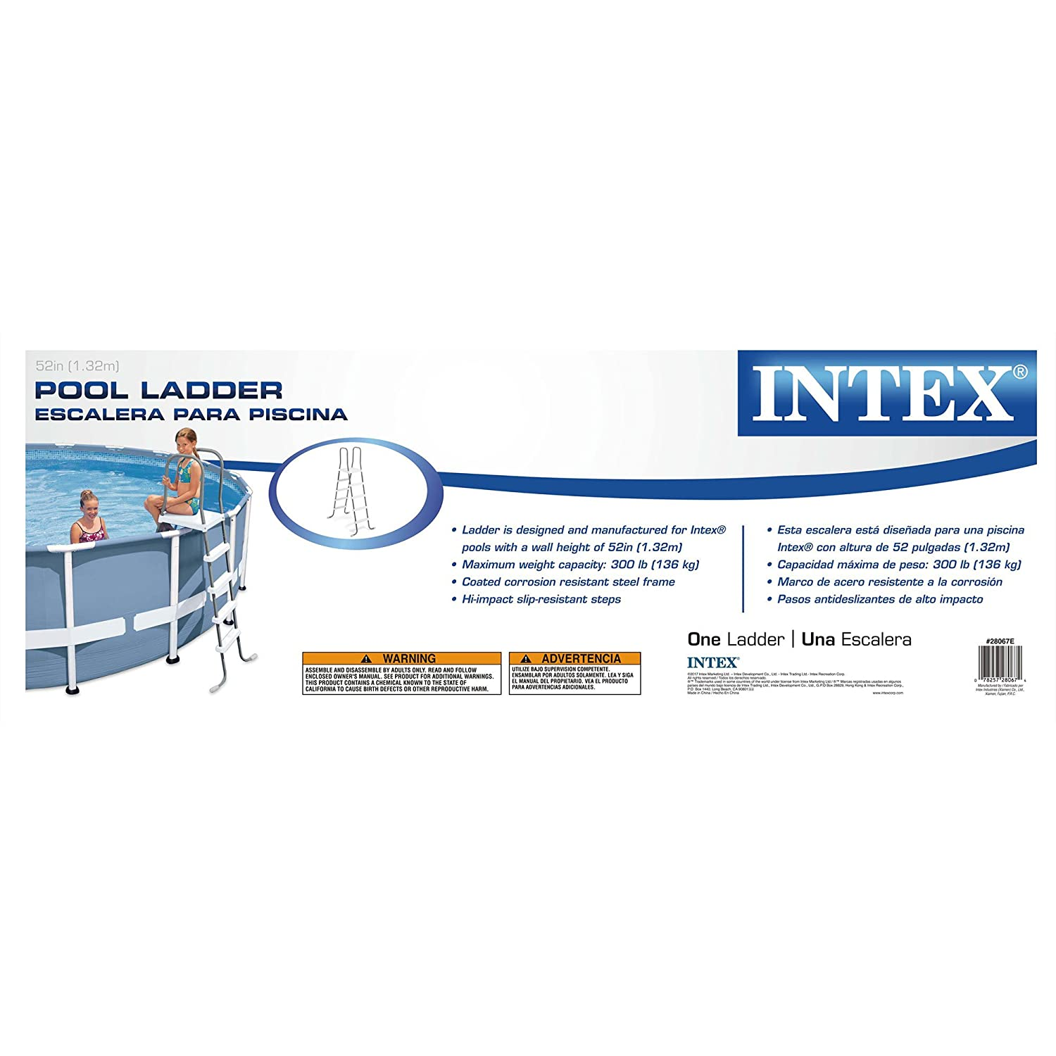 Amazon.com : Intex Steel Frame Above Ground Swimming Pool Ladder for ...