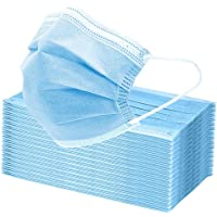 TINAWELLS 50Pcs Face Mask, 3 Layers Breathable Earlooped Disposable Mask - Blue (Sealed in Plastic Bag and Packed in…
