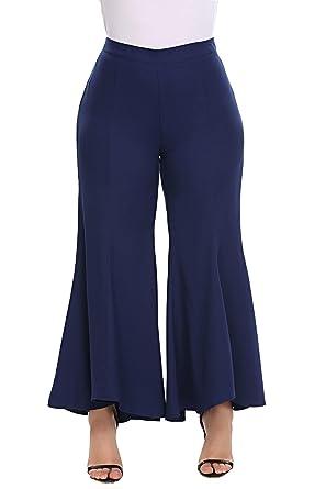 40ef2078785 Zeagoo Womens Plus Size High Waist Flared Asymmetrical Long Culottes Wide  Leg Pants