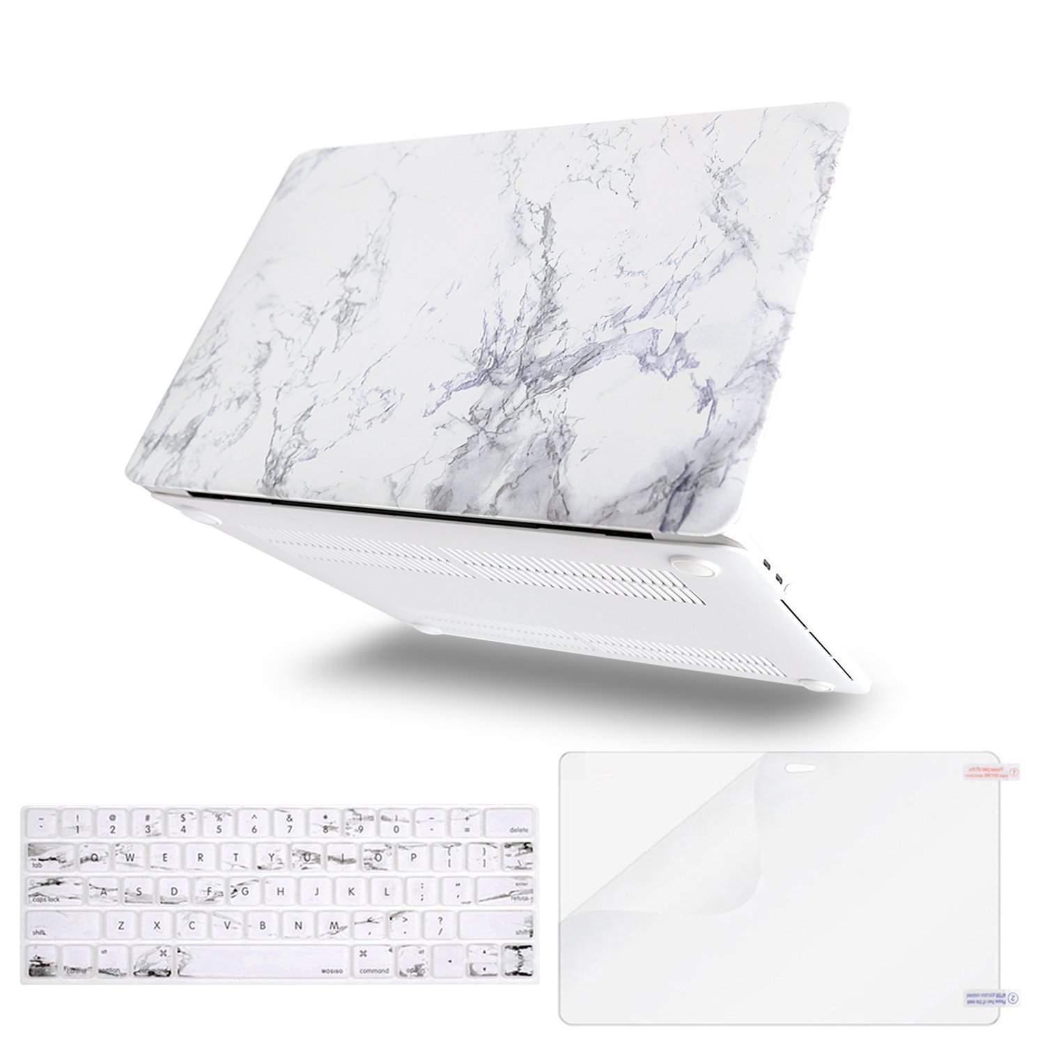 MOSISO MacBook Pro 13 Case 2018 2017 2016 Release A1989/A1706/A1708 w/ & w/o Touch Bar,Plastic Pattern Hard Case & Keyboard Cover & Screen Protector Compatible Newest Mac Pro 13 in,White Marble