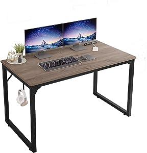 """Home Office Computer Desk,Modern Simple Style Computer Desk,Laptop Desk,Workstation, Sturdy Student Writing Desk,Table with Hook,Flrrtenv (39"""", Grey Oak)"""