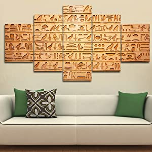 Pictures for Living Room Egypt Hieroglyphs Carved on Stone Artwork Brown Texture Wall Art Multi Panel Prints on Canvas Paintings House Modern Decor Framed Gallery-Wrapped Ready to Hang(60''Wx32''H)