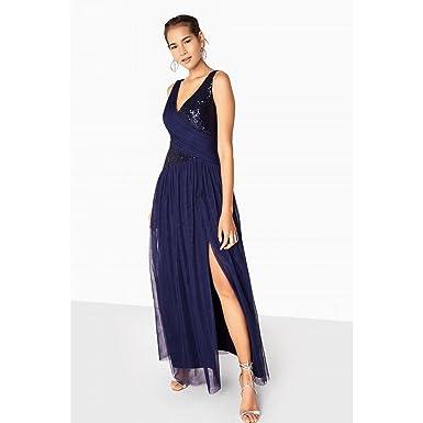 b57c825bae0 Little Mistress Womens Ladies Bonnie Sequin Mesh Maxi Dress (6 UK) (Navy
