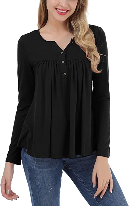 c71a46f4 FISOUL Women's Button up Long Sleeve T-Shirt Casual V Neck Blouse Solid Tunic  Tops