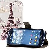 kwmobile Wallet Case Kunstlederhülle für Samsung Galaxy S3 Mini - Cover Flip Tasche in Eiffelturm Design mit Kartenfach und Ständerfunktion in Schwarz Weiß