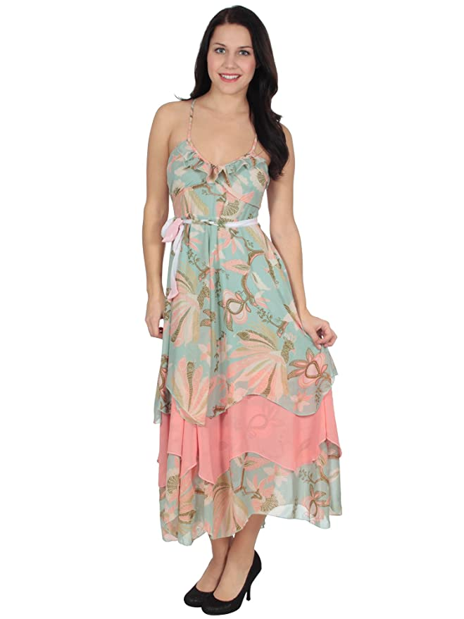 Simplicity Cute Boho Dress in Pastel Colored Floral Print, Tiered Hem at Amazon Womens Clothing store: