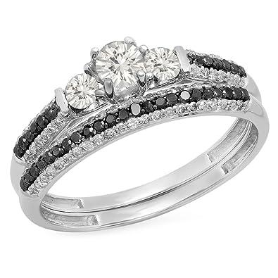 10k white gold white sapphire black white diamond 3 stone bridal engagement ring set - White Sapphire Wedding Ring Sets