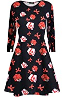 Oops Outlet Womens Christmas Swing Dress Girls Gift Candy Ladies Gingerbread Penguin Smock Reindeer Skater Mini Dress