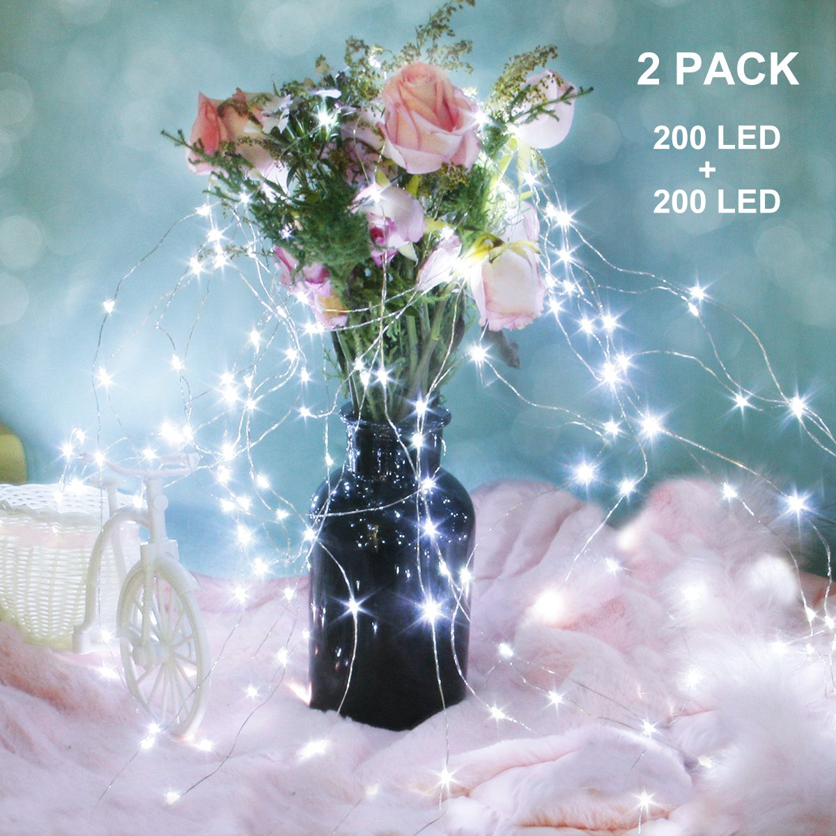 Binval Solar Fairy String Lights, 72ft 200Led, Copper Wire Led String Lights Ambiance lighting for Patio, Lawn, Garden, Landscape, Home, Wedding, Christmas Party, Xmas Tree, Waterproof (White,2-Pack)