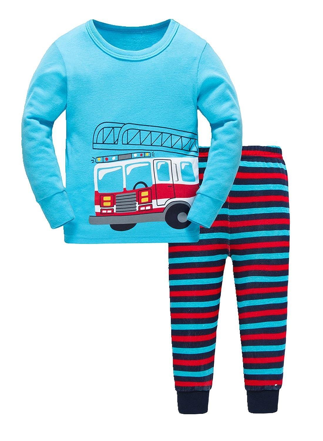 Boys Pajamas Comfort Long Sleeves Toddler Clothes Bus Kids Pjs Sleepwear 2 Piece Yzjcafriz
