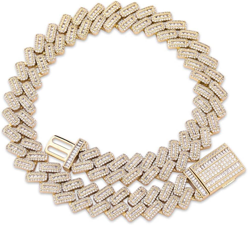 """Mens 1 Row Icy Baguette Cz Link 14k Gold Plated 30/"""" Chain Hip Hop Necklace"""