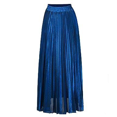 Availcx-Sexy Long Skirt Falda Dorada Plateada para Mujer Faldas ...
