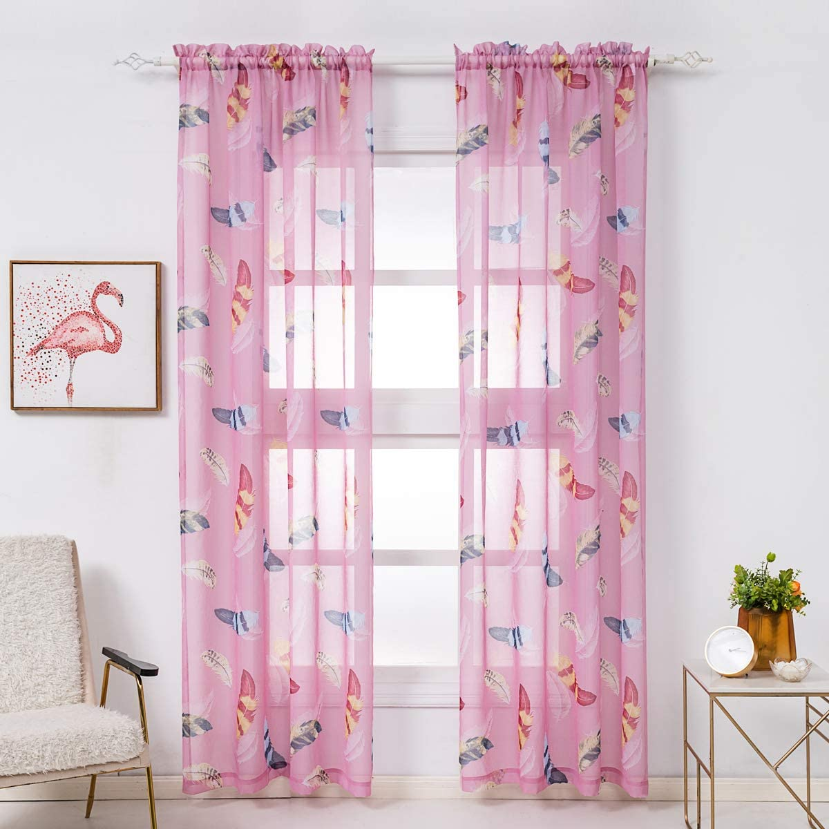 Colorful Curtains Long Panel Sheer and Blackout Curtains White with Red and Pink Floral Print Long Window Curtains