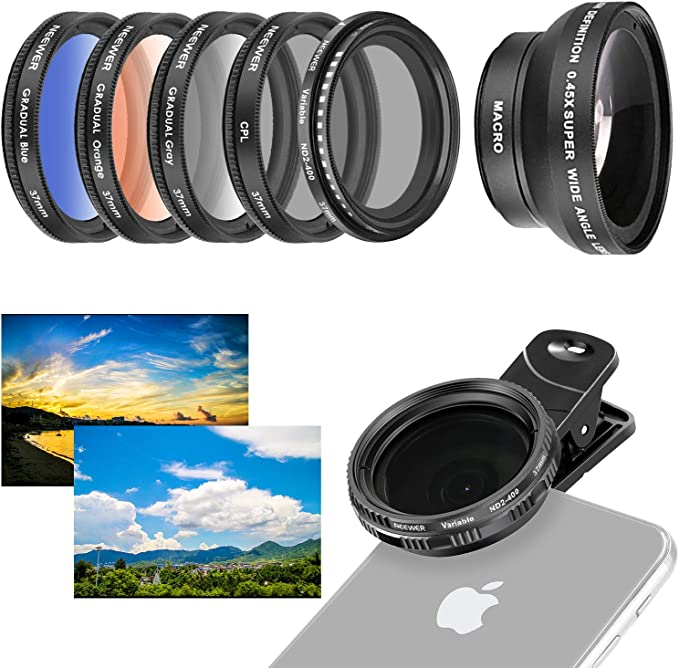 Natural Night Star-6 and More Smartphone for iPhone ND16 SESENPRO Cell Phone Camera Lens Filter Kit 4 in 1,CPL Google Pixel Include Lens Mount Clip and Mini Tripod Stand Samsung