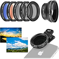 Neewer 37mm Cell Phone Lens Accessory Kit, Includes 0.45X Wide Angle Lens,Lens Clip,Graduated Color Filters (Blue Orange…