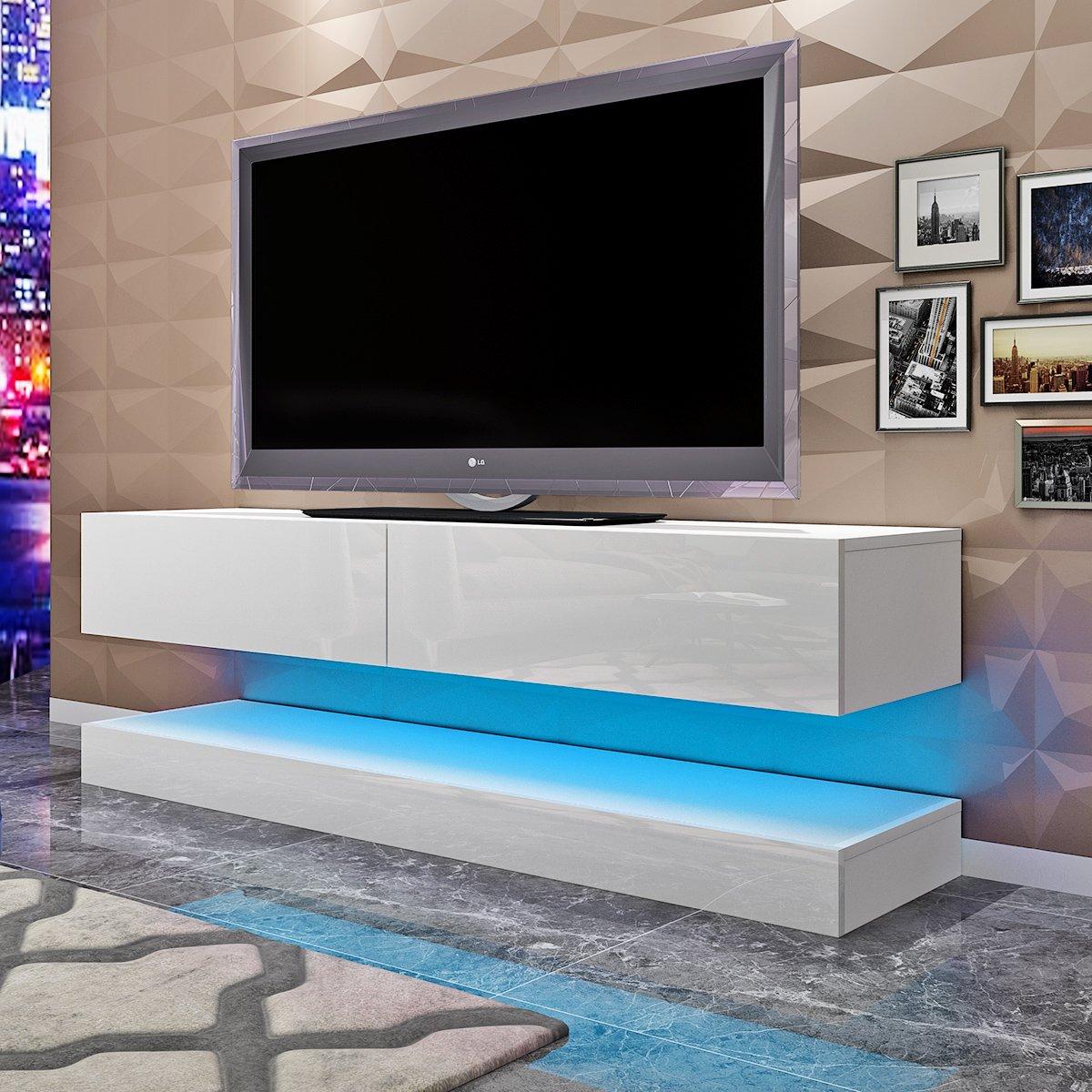 Modern 140cm LED TV Cabinet Unit Floating TV Stand Table for Living Room with 2 Drawers White High Gloss Door Matt Side Body White