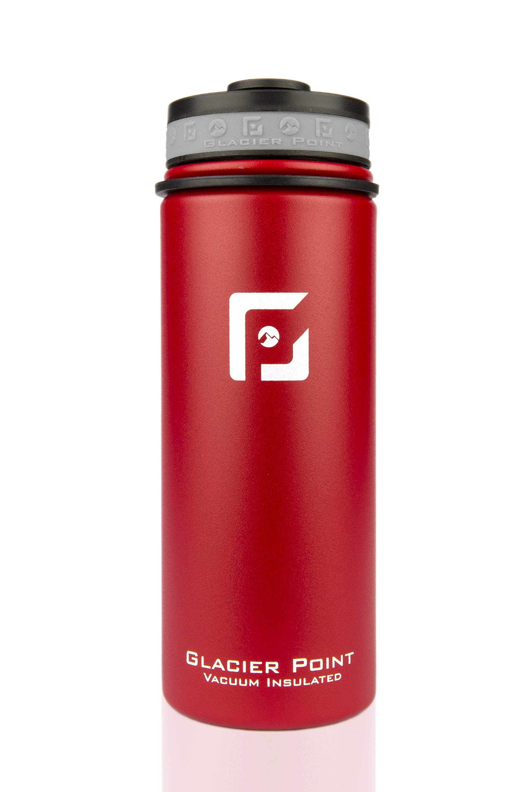 Glacier Point Vacuum Insulated Water Bottle (18oz / 32oz) Wide Mouth with Bonus Sports Lid (Red, 18 OZ)
