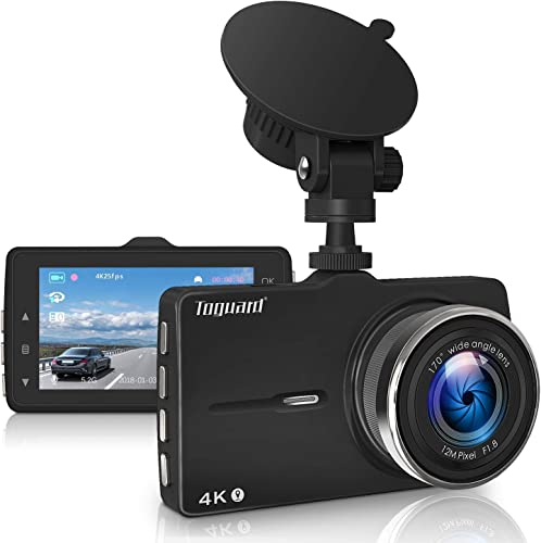 TOGUARD Dash Cam 4K Ultra HD Dash Camera with GPS, Car Driving Recorder with 3 Inch LED Screen, 170 Wide Angle Dashboard Camera, G-Sensor, WDR, Loop Recording,Parking Monitor, Motion Detection