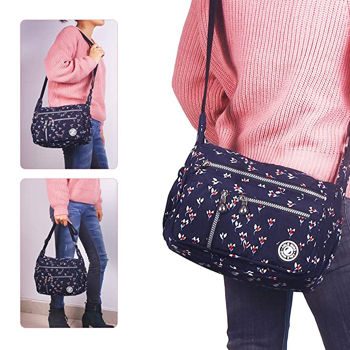 0c81081ac95c ABLE Waterproof Shoulder Bag Messenger Crossbody Bags Multi-functional  pocket (01-Black(customized floral))  Amazon.co.uk  Shoes   Bags