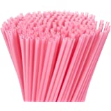 300-Pack Disposable Drinking Straws - Plastic Drinking Straws, Colored Neon Straws, Extra Long, Quarter Inch Opening, Pink, 10 x 0.2 Inches