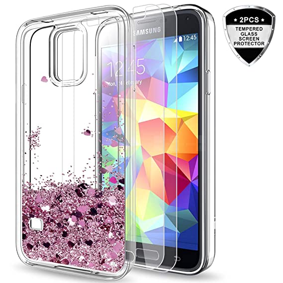 brand new 4f7ad 03acb Galaxy S5 Case with Tempered Glass Screen Protector [2 Pack] for Girls  Women, LeYi Bling Shiny Glitter Moving Quicksand Liquid Clear TPU  Protective ...