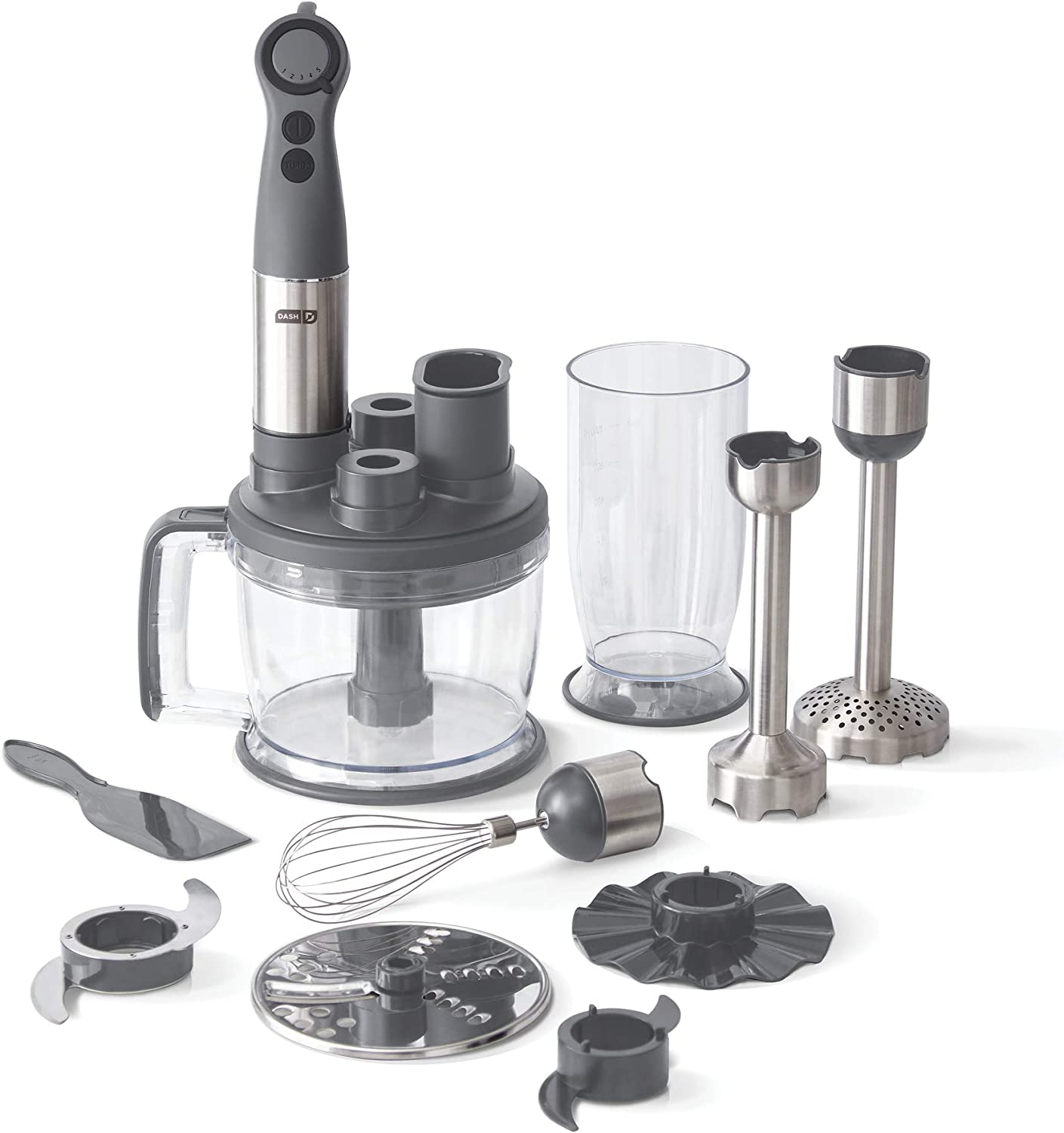 Dash Chef Series Deluxe Immersion Hand Blender, 5 Speed Stick Blender with Stainless Steel Blades, Dough Hooks, Food Processor, Grate, Mash, Slice, Whisk Attachments and Recipe Guide – Cool Grey